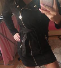 Olasz S-es méretű hosszitott fekete velurkabát