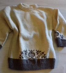 M / L-es kézműves vastag gyapjú pulóver