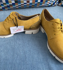 Tamaris mustársárga fűzős cipő (37)