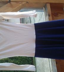 Új My77 kék-fehér csillogos ruha S