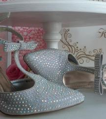 Csupa strassz álomszép alkalmi cipő, új, ezüst
