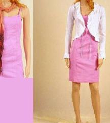 Új, rózsaszín len viszkóz szuper ruha Árzuhanás