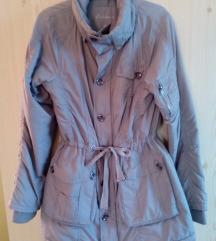 Szürke Fishbone őszi-téli karcsúsított kabát
