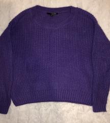 Cropped lila kötött pulcsi