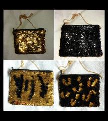 Átfordítható arany-fekete flitteres alkalmi táska