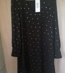 Új elegáns fekete pöttyös ruha xs- s -m