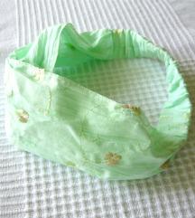 Újszerű almazöld hímzett pamut fejpánt-kendő ❤