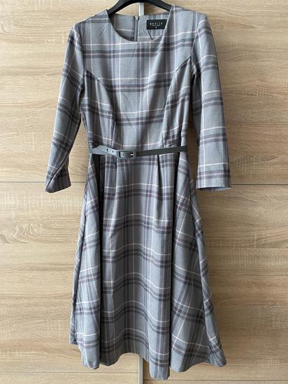 Szürke kockás elegáns ruha