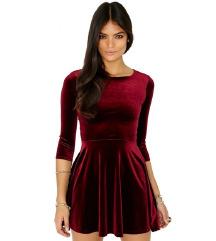 Missguided vörös bársony ruha