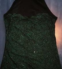 Zöld csillogós garbós nyakú felső
