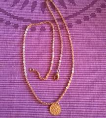Könnyű nyaklánc kerek arany színű vert lemezzel