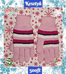 kesztyű téli meleg kötött pink rózsaszín