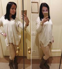 MANGO törtfehér pulóver