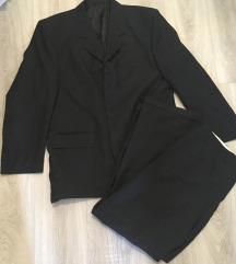 Fekete csíkos öltöny szett 52-54-es méret