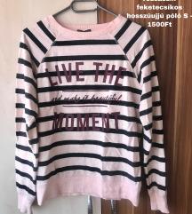 Newyorker rózsaszín feketecsíkos hosszúujjú póló