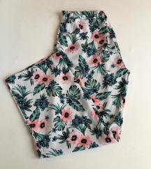 H&M bőszárú, virágos hosszú nadrág M-es