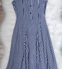 ÚJ tengerész kék csíkos ruha S