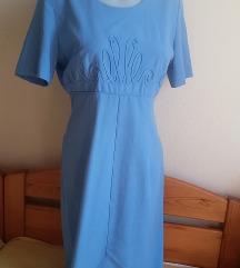 Kathie Lee kék díszes ruha, S/M-es (6-os)