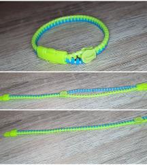 neonsárga kék húzózár karkötő