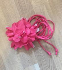 Pink vékony virágos öv