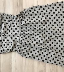 H&M szürke pöttyös pánt nélküli ruha