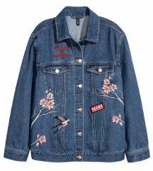 H&M új  hímzett farmerdzseki🌷🌺