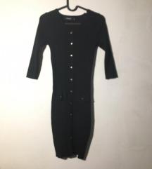 fekete elegáns bordázott rövid office ruha