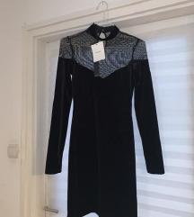 bershka elegáns fekete ruha új címkés
