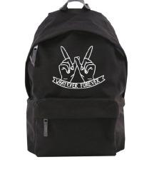 Fekete feliratos hátizsák, iskolatáska