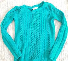 Zöldeskék  kötött pulcsi