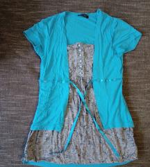 S-es vízkék, elől megkötős 2in1 hosszított póló
