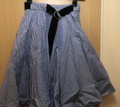 Zara kék-fehér csíkos lapolós szoknya övvel