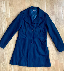 Hibátlan téli fekete női szövet kabát gyapjú M