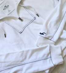 Hollister cipzáros fehér pulcsi S, M