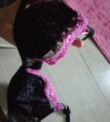 Szexis lila fekete melltartó 75 b