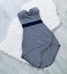 Pántnélküli csíkos ruha
