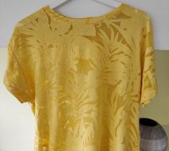 citromsárga levélmintás áttetsző póló