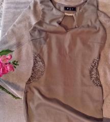 Olajzöld alkalmi ruha csipkebetéttel Xs-s