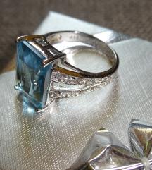Világoskék köves ezüstgyűrű 54-es