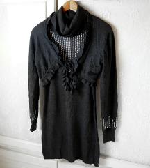 ✿Strasszos party ruha szett ( pulcsiruha+boleró )