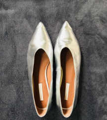Ezüst bőr balerina