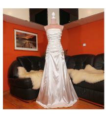 Új francia szatén menyasszonyi esküvői ruha