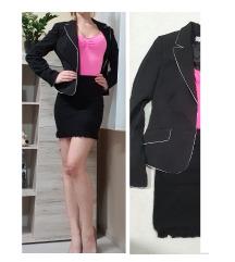 Fekete blézer kosztüm felső nadrággal + aji