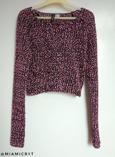 H&M rózsaszín-fekete crop pulcsi (XS/S)