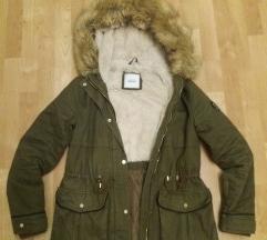 meleg kekizöld téli kabát S méret