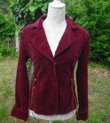 Bordó kordbársony tavaszi kabát M