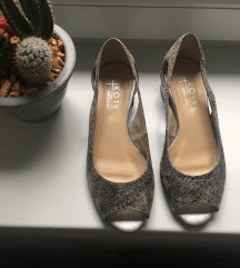 Ezüst, bőr félcipő