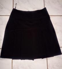Fekete, csinos, rakott, mini szoknya, 36-os