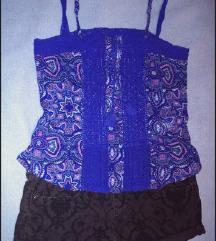 Hollister kék Virágos-csipkés top 🌸 🐦