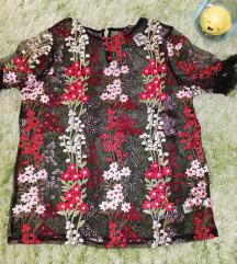 F&f hímzett virágmintás necc póló